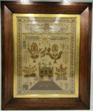Antique Early 19th Century House Motif & Verse Framed Sampler Marian Sampson ?