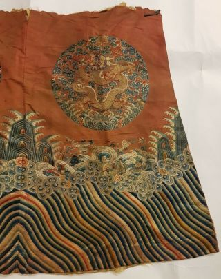 Chinese Imperial Robe Partial w/Two Imperial Dragon Roundels,  Yellow Liner,  19th C 5