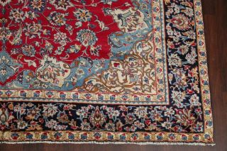 Vintage Traditional Floral Red & Light Blue Oriental Area Rug Hand - Knotted 9x13