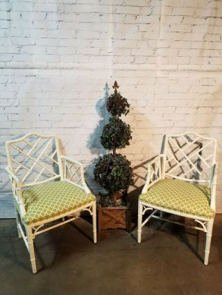 Chippendale Faux Bamboo Dining Chairs,  lacquered wood Chinese Chippendale 3