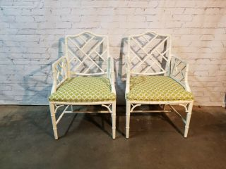 Chippendale Faux Bamboo Dining Chairs,  lacquered wood Chinese Chippendale 5