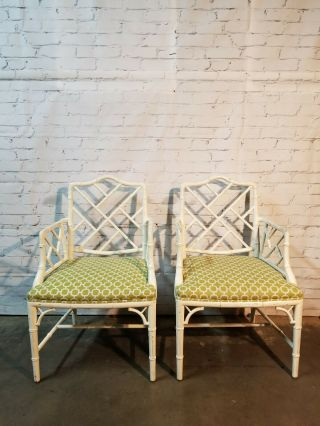 Chippendale Faux Bamboo Dining Chairs,  lacquered wood Chinese Chippendale 6