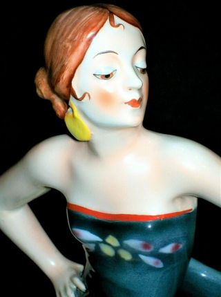 Antique German Art Deco Goldscheider Qty Lady Flamenco Dancer Porcelain Figurine