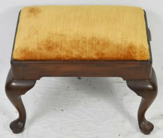 Henkel Harris Mahogany Queen Anne Style Foot Ottoman Foot Stool Bench Chair Seat