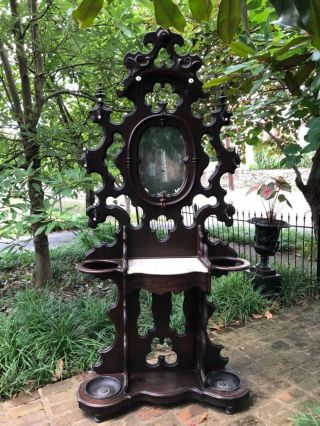 Phenomenal Victorian Walnut Hall Tree with Marble Top and Dovetailed Drawer 2