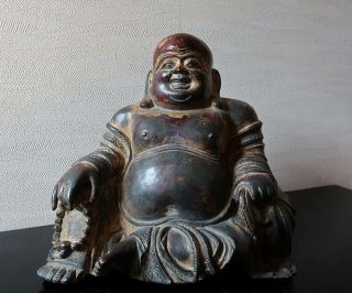 Very Rare Chinese Antique Gilt Bronze Figure Of A Budai Ming Dynasty?