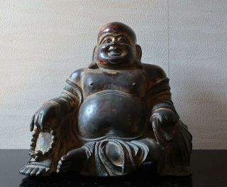 VERY RARE CHINESE ANTIQUE GILT BRONZE FIGURE OF A BUDAI MING DYNASTY? 2