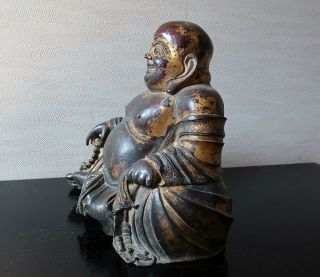 VERY RARE CHINESE ANTIQUE GILT BRONZE FIGURE OF A BUDAI MING DYNASTY? 6