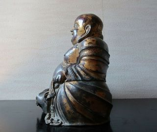 VERY RARE CHINESE ANTIQUE GILT BRONZE FIGURE OF A BUDAI MING DYNASTY? 7