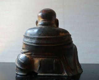 VERY RARE CHINESE ANTIQUE GILT BRONZE FIGURE OF A BUDAI MING DYNASTY? 8