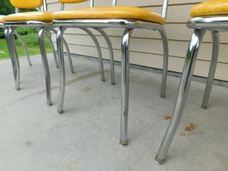 c1955 Completely Restored Retro Chrome Yellow Crackle Kitchen Table & 4 Chairs 10