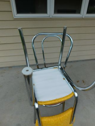 c1955 Completely Restored Retro Chrome Yellow Crackle Kitchen Table & 4 Chairs 11