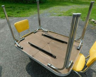 c1955 Completely Restored Retro Chrome Yellow Crackle Kitchen Table & 4 Chairs 12