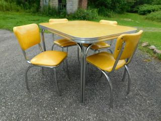 c1955 Completely Restored Retro Chrome Yellow Crackle Kitchen Table & 4 Chairs 2
