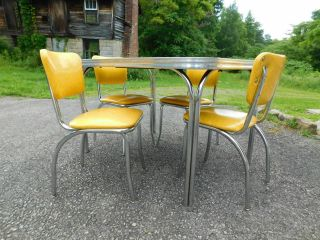 c1955 Completely Restored Retro Chrome Yellow Crackle Kitchen Table & 4 Chairs 3