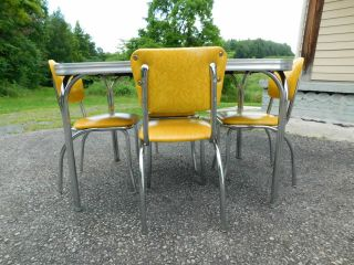 c1955 Completely Restored Retro Chrome Yellow Crackle Kitchen Table & 4 Chairs 4