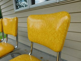c1955 Completely Restored Retro Chrome Yellow Crackle Kitchen Table & 4 Chairs 6