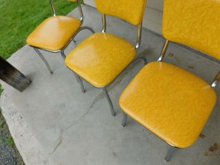 c1955 Completely Restored Retro Chrome Yellow Crackle Kitchen Table & 4 Chairs 7