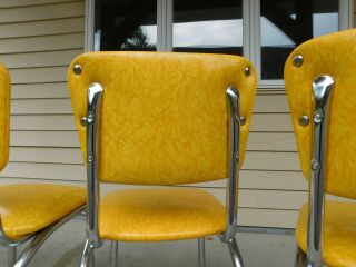 c1955 Completely Restored Retro Chrome Yellow Crackle Kitchen Table & 4 Chairs 9