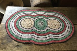 Large Old Antique Handmade 3 Circle Table Rug Mat Red Green Country Colors Aafa