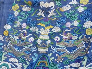 A antique embroidered blue silk Chinese robe dragon 10