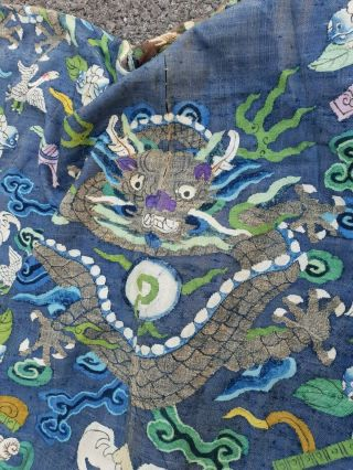 A antique embroidered blue silk Chinese robe dragon 11