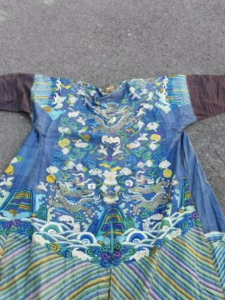 A Antique Embroidered Blue Silk Chinese Robe Dragon