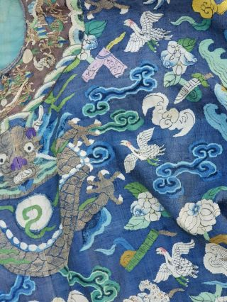 A antique embroidered blue silk Chinese robe dragon 2