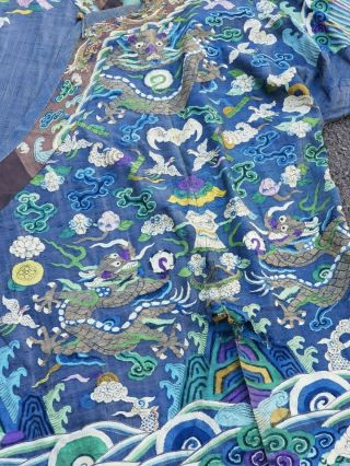 A antique embroidered blue silk Chinese robe dragon 4