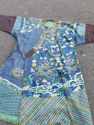 A antique embroidered blue silk Chinese robe dragon 6