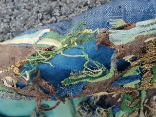 A antique embroidered blue silk Chinese robe dragon 9