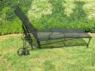 """77 """" Black - Scroll - Wrought Iron - Mesh Chaise Lounge - Patio Chair - Adjustable Back"""