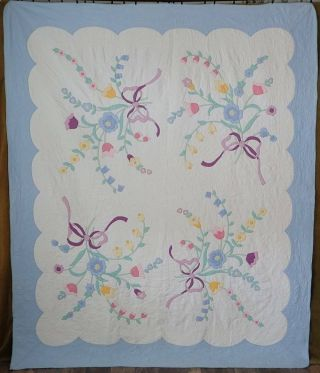 Cottage Perfect Vintage Blue & White Brides Bouquet Applique Quilt 91x76 ""