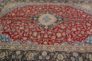 Vintage Traditional Red Light Blue Kashmar Oriental Area Rug 10