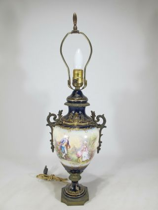 Antique French Sevres Bronze & Porcelain Lamp D10010