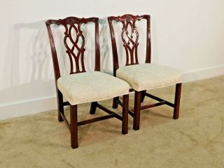 Pair Kindel Winterthur Mahogany Carved Chippendale Chairs 2