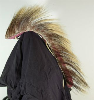 1890s Native American Plains / Sioux Indian Porcupine Quill Hair Roach Headdress