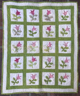 Antique Doll Quilt - Authentic 19th Century Calico - Appliqué - Green And Red
