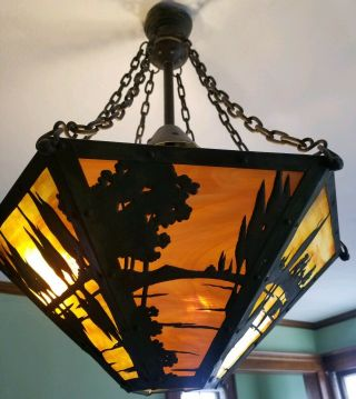 Mission,  Arts & Crafts Slag Glass hanging light fixture,  early 1900s 6