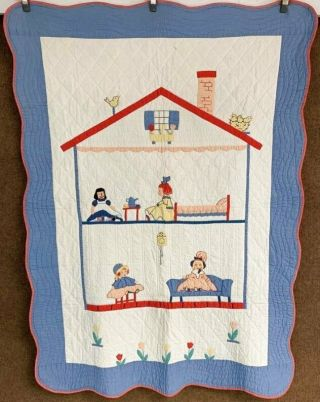 "Rare C 1930s Pictorial "" The Dollhouse "" Applique Crib Quilt Collectors Alert"