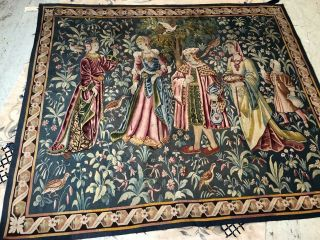 Auth: 19th C French Tapestry 6x8 Wool & Silk Beauty Gothic Revival ANTIQUE NR 2
