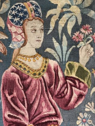 Auth: 19th C French Tapestry 6x8 Wool & Silk Beauty Gothic Revival ANTIQUE NR 3