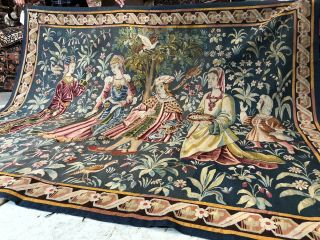 Auth: 19th C French Tapestry 6x8 Wool & Silk Beauty Gothic Revival ANTIQUE NR 4
