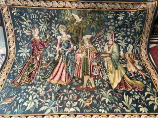 Auth: 19th C French Tapestry 6x8 Wool & Silk Beauty Gothic Revival ANTIQUE NR 5