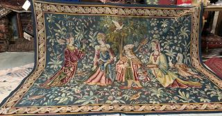 Auth: 19th C French Tapestry 6x8 Wool & Silk Beauty Gothic Revival ANTIQUE NR 7