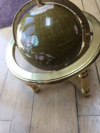 Semi Precious Stoned Globe Mother Of Pearlmounted On A Brass Stand With Compass