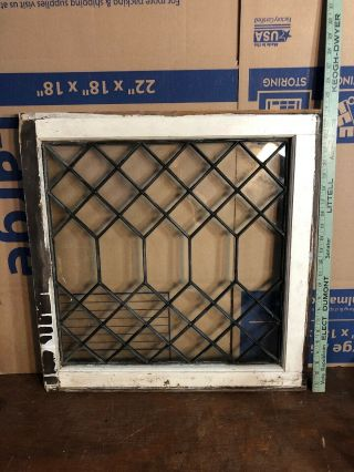 "Rare Antique Vintage Architectural Leaded Window,  Clear Glass 23"" By 24"""