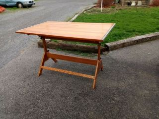 """Vintage Anco Drafting Table 5  L 38 """" W Industrial Iron Oak Delivavailable"""