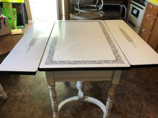 Antique/vintage Enamel Top Bakers Kitchen Table White And Black Wood Legs