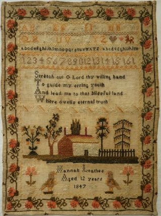 Mid 19th Century Cottage,  Verse & Alphabet Sampler By Hannah Leathes Age 12 1847